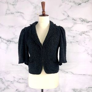 SANDRO Wool Blend Teddy Bat Wing Cropped Coatigan
